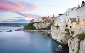 Картинка море, дома, вечер, Италия, Апулия, Гаргано