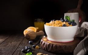 Картинка ягоды, завтрак, молоко, кукурузные хлопья