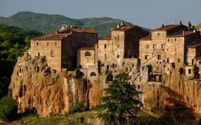 Картинка скала, дома, Италия, Тоскана, Питильяно