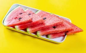 Картинка арбуз, дольки, watermelons