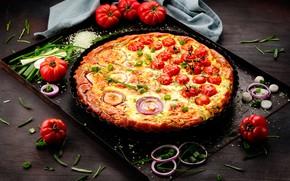 Картинка лук, пицца, помидоры, фастфуд