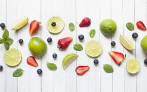 Картинка белый, ягоды, фон, клубника, лайм, цитрус, фрукты, композиция