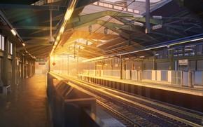 Картинка закат, станция, без людей