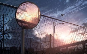 Картинка небо, закат, город, самолет, забор, дорожное зеркало