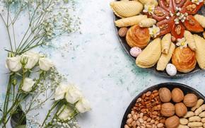 Картинка цветы, розы, выпечка, орешки, восточные сладости