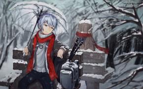 Картинка девушка, скамейка, зонт, парень