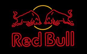 Картинка неон, реклама, напиток, Red Bull