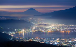 Картинка city, город, lights, огни, озеро, гора, Япония, Japan, mountain, lake, Фудзияма, Fuji, Tatsuki Ito, Takabocch, …