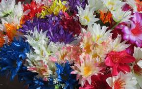 Картинка Букет, искуственные цветы, Meduzanol ©, Разноцветный букет