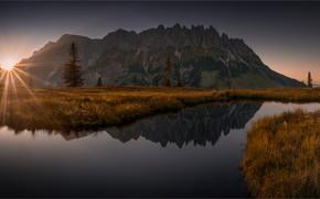 Картинка осень, горы, скалы, панорама, водоем