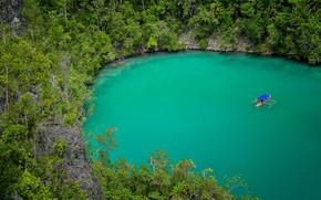 Картинка озеро, лодка, Азия, кратер