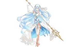 Картинка белый фон, жезл, жрица, копьё, голубые волосы, богиня воды, Fire Emblem, на ципочках, by Yuusuke …