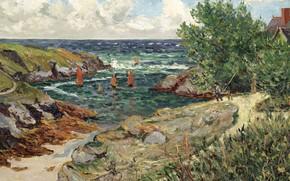 Картинка пейзаж, картина, 1909, Maxime Maufra, Максим Мофра, The Port of Goulphar. Belle-Ile-en-Mer