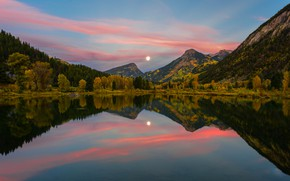 Картинка осень, лес, небо, солнце, облака, горы, отражение, вечер, водоем