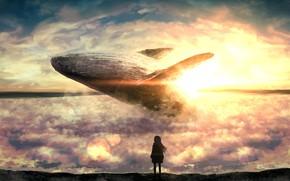 Картинка девушка, солнце, облака, кит