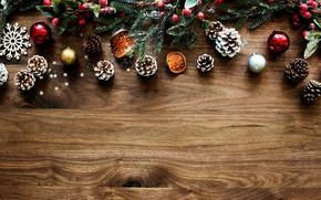 Картинка ель, ветка, древесина, шишки, елочные игрушки, декор