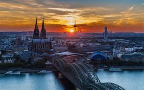 Картинка закат, мост, река, Германия, Кёльн