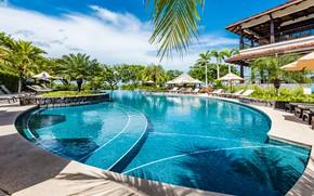 Картинка пальмы, вилла, бассейн, курорт, Hacienda Pinilla
