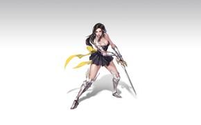 Картинка Girl, Art, Style, Illustration, Knight, Minimalism, Sword, Armor, Figure, Character, Pretty Woman, Hye Jeong Hwang