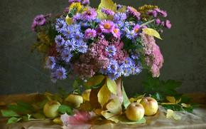 Картинка осень, цветы, яблоки, букет, астры