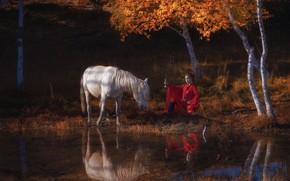 Картинка осень, девушка, конь, меч