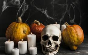 Обои череп, паутина, свечи, тыквы, Halloween, Хэллоуин, овощи, October