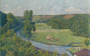 Картинка пейзаж, река, картина, 1890, пуантилизм, Theo van Rysselberghe, Тео ван Рейссельберге, Долина Самбры