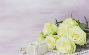 Картинка подарок, розы, букет, бусы, белые