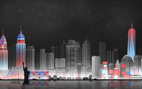 Обои Небо, Минимализм, Ночь, Город, Art, New York, Digital, Illustration, New-York City, Game Art, by Caio ...