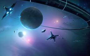 Картинка Станция, Планета, Космос, Планеты, Star, Арт, Space, Art, Космические Корабли, Космический Корабль, Station, Illustration, Space …