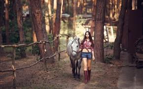 Картинка лес, девушка, поза, волосы, лошадь, шорты, сапоги, брюнетка, ножки, красотка