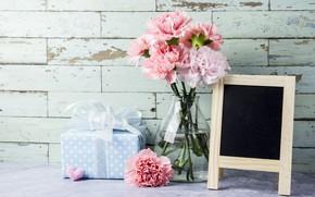 Картинка цветы, flowers, carnation, подарок, hearts, сердечки, gift, romantic, pink, love, розовые, beautiful, гвоздики