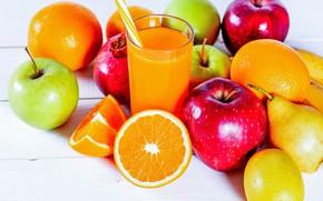 Картинка стакан, лимон, яблоки, апельсины, сок, бананы, груша, трубочка, фрукты, боке