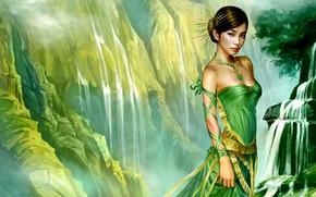 Картинка взгляд, девушка, зелёное платье
