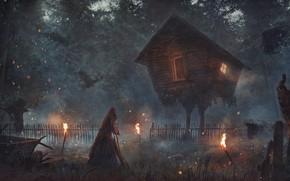 Картинка лес, дом, Баба- яга, Избушка на курьих ножках