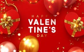 Картинка шарики, красный, фон, надпись, подарки, сердечки, открытка, Valentines Day