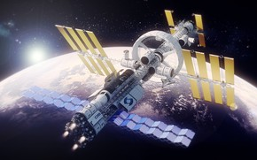 Картинка Станция, Планета, Космос, Fantasy, Арт, Space, Art, Космический Корабль, Planet, Station, Фантастика, Рендеринг, Illustration, Spaceship, …