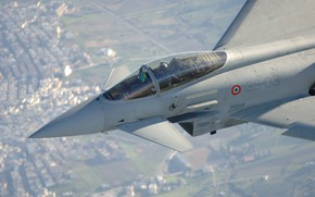 Картинка Фонарь, Пилот, Eurofighter Typhoon, ВВС Италии, Кокпит, ПГО, Многоцелевой Истребитель
