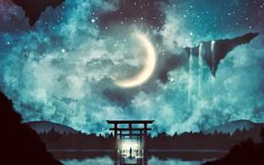 Картинка вода, ночь, человек, фэнтези, коридор, полумесяц, тории
