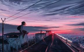 Картинка Закат, Солнце, Небо, Девушка, Восход, Город, Girl, Рассвет, Девочка, City, Пейзаж, Sky, Landscape, Sun, Sunset, …