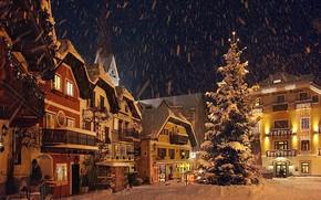 Картинка Дома, Австрия, Снег, Snow, Austria, Houses, Зимний город, Winter city