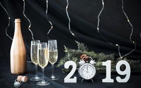 Картинка праздник, часы, Новый Год, бокалы, Winter, декор, New year, Celebration, Clock