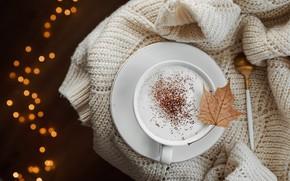 Картинка лист, тепло, кофе, ложка, чашка, капучино, боке