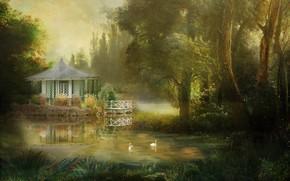 Картинка лето, деревья, пейзаж, природа, озеро, пруд, парк, рендеринг, берег, лебеди, беседка, фотоарт