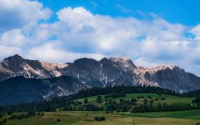 Картинка небо, деревья, горы, холмы, вид