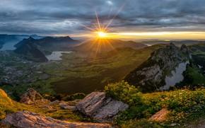 Картинка солнце, деревья, пейзаж, горы, природа, Швейцария, Switzerland, Schwyz, Швиц