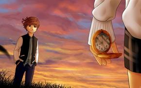 Картинка закат, часы, рука, парень