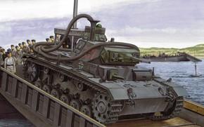 Картинка Panzerkampfwagen III, немецкий средний танк, PzKpfw III, Морской десант, Операция «Морской лев», Pz.III Ausf.F, Unternehmen ...