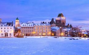 Картинка зима, снег, дома, Канада, Квебек, Шато-Фронтенак, улица Сен-Дени
