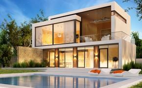Обои деревья, дизайн, дом, газон, бассейн, modern, houses, villa, luxury, модерн